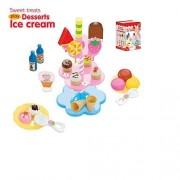 Ice Cream Play Set-Sweet Treats Ice Cream and Desserts Tower - Play Food Toy Set for Kids