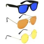 Elligator Aviator, Wayfarer, Round Sunglasses(Blue, Orange, Yellow)