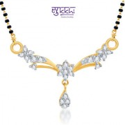 Sukkhi Classic Traditional Cz Gold And Rhodium Plated Mangalsutra Pendant
