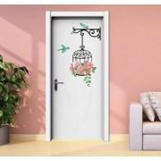 Jaamso Royals ' Top Cartoon Creative Bird Flowers Door Decor Rose ' Wall Sticker (PVC Vinyl 60 cm X 45 cm Decorative Stickers)