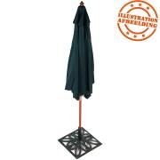 Zeshoekige flesgroene parasol 'OMBRA' uit polyesterdoek met centrale structuur van hout
