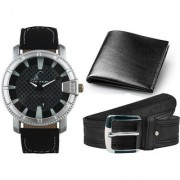 Veletime Special Combo of Round Dial Black Strap Stylish Analog Wrist Watch With Black Belt And Black Wallet