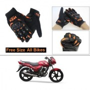 AutoStark Gloves KTM Bike Riding Gloves Orange and Black Riding Gloves Free Size For TVS Star