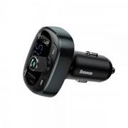 Baseus T-Typed Bluetooth FM Transmitter - блутут FM трансмитер и зарядно за кола за мобилни устройства (черен)