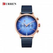 CURREN 8313 reloj de pulsera de banda de metal analogo de cuarzo unisex moda redonda con dos esferas decorativas - oro rosa + azul