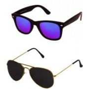 Barbarik Aviator, Wayfarer Sunglasses(Black, Blue)