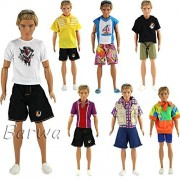 Barwa Random Style 3 Sets Fashion Casual Sporty Summer Shorts Set Outfit for Barbie Ken Doll Xmas Gift