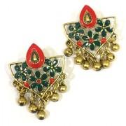 Digital Dress Women's Fashion Jewellery Earring Indian Traditional Light Weight Handmade Floral Green Red Enamel Work Design Gold-Plated Studded Drop Earrings Oxidized for Women Girls
