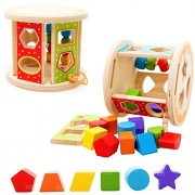 MousePotato Wooden Shape Sorting Puzzle Blocks Educational Toy to Learn Colours & Shapes
