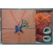 New Born Baby Gift Set With 4 Items (Orange)