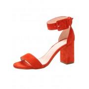 Gennia Sandale aus hochwertigem Ziegenveloursleder, orange