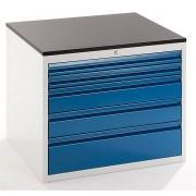 Certeo Werkzeugschrank, Tiefe 650 mm - Höhe 640 mm, Schubladen 2 x 60, 2 x 120, 1 x 180 mm - lichtgrau / enzianblau, Breite 770