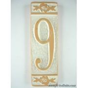 Numero civico ceramica con fiore bianco nfb9