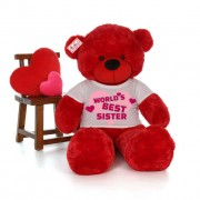 5 feet big red teddy bear wearing Worlds Best Sister T-shirt