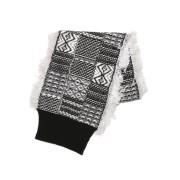 【71%OFF】総柄 リブ&フリンジヘム ニットマフラー ブラックミックス uni ファッション > ファッション小物~~スカーフ