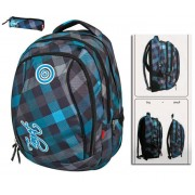 TARGET 2 in 1 hátizsák - ALL OVER fekete/kék - AJÁNDÉK TOLLTARTÓVAL