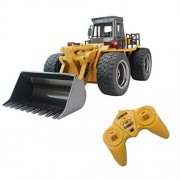 Fistone Alloy Radio Controlled RC Front Loader Construction Vehicle Electronic Toys With 2.4G Radio Control, Yellow