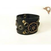 Steampunk bőr karkötő (sötét)