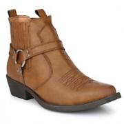 Delize Tan Cowboy Ankle Boots