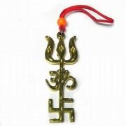 Tri Shakti Urja Yantra (swastik Om Trishul Symbol) Evil Eye Repellent