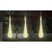 Pure Garden 30 Bulb Tear Drop LED Solar String Lights (Set of 2) Warm White Yellow