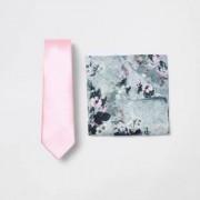River Island Mens Pink satin tie and floral handkerchief set