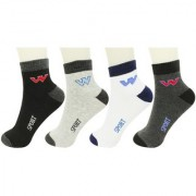 Neska Moda 4 Pair Men Free Size Cotton Crew Length Socks Black Grey White Socks