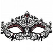 Mask - TOOGOO(R) Glossy Metal Filigree Phantom Half Face Mask for Venetian Masquerade (Black/Red Stones)