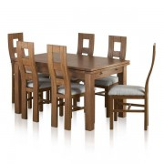 "Oak Furnitureland Rustic Solid Oak Dining Sets - 4ft 7"" Extending Dining Table with 6 Chairs - Sherwood Range - Oak Furnitureland"