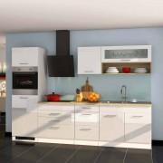 Kücheneinrichtung in Weiß Hochglanz mit E-Geräten (11-teilig)