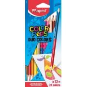 Creioane colorate Color Peps Duo 12 creioane 24 culori/set Maped