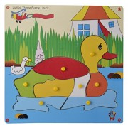 Skillofun Wooden Jumbo Theme Puzzle Duck Knobs, Multi Color