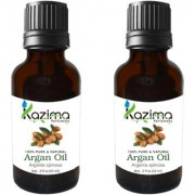 KAZIMA Argan Moroccan Cold Pressed Carrier Oil (Pack of 2) with Dropper 15ml Pure Natural - Used for Glowing Skin Benefits Face Hair Growth Hair ReGrowth Beard Growth Acne Treatment Body Massage Oily and Dry Skin