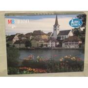 1996 MB Big Ben 1000 Piece Jigsaw Puzzle - The River Rhein, Diessenhofen, Switzerland (package wear