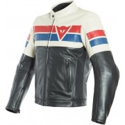 Dainese 8-Track Leather Jacket Black/Ice/Red 58