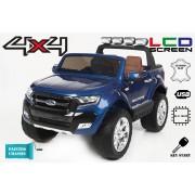 Mașinuță electrică pentru copii de lux Ride-on Ford Ranger Wildtrak, 4x4 LCD, ecran LCD, vopsită, 2.4 Ghz, 2x12V, 4x Motoare, telecomandă, două scaune de piele, roți ușoare Eva, Bluetooth, albastru