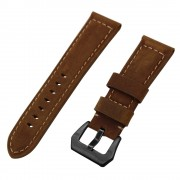 Split Leather Watch Band with Black Big Buckle for Huawei Watch GT - Dark Brown