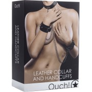Set collare e manette Ouch! Leather Collar and Handcuffs Nero