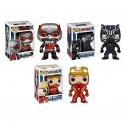 Funko Pop Set 3 Civil War Iron Man Black Panther Antman