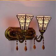 YALANDA Lámpara de Pared Creativa Estilo Tiffany, retrovisor japonés, Espejo retrovisor de Vidrio, retrovisor para Espejo de baño, Luces de Pasillo Junto a la Noche, luz Nocturna,2heads