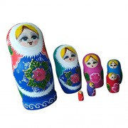 Magideal Russian Nesting Dolls Matryoshka Wood Stacking Nested Set 7 Pieces Hand