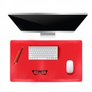 Large Office Computer Desk Modern Table Mouse Pad Plush Wool Desk Gamer Mousepad Mat, Size: 80x39cm - Red