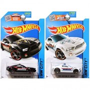 Hot Wheels 2015 HW City Sheriff Police Ford Mustang GT Concept in White and Black SET OF 2