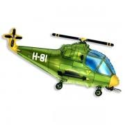 Helikopter, zöld, 98cm, fólia lufi