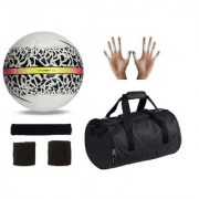 Combo of React Hypervenom White/Black Football (Size-5) Kit Bag & Supporters