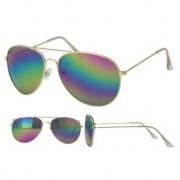 Merkloos Aviator zonnebril goud met olie/spiegel glazen voor volwassenen