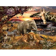 Springbok Puzzles - Wild Savanna - 400 Piece Jigsaw Puzzle - Large 26.75 inches by 20.5 inches Puzzle - Made in USA - Unique Cut Interlocking Pieces - Big Pieces for Kids & Small Pieces for Adults