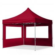 Intent24.fr Tente pliante 3x3m PES 300 g/m² rouge imperméable barnum pliant, tonnelle pliante