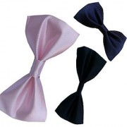 Wholesome Deal Pink Black And Navy Blue Colour Neck Bow Tie (Pack of Three)