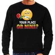 Bellatio Decorations Funny emoticon sweater Your place or mine zwart heren M (50) - Feesttruien